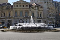 Fountain in Placa De Catalunya. Barcelona. Spain Royalty Free Stock Image