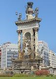 Fountain of the Placa De Espanya. BARCELONA, SPAIN - JULY 8, 2015: The fountain at the centre of the Placa De Espanya, one of Barcelona's most important squares royalty free stock photos