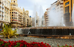Fountain at Placa del Ajuntament in Valencia Stock Photography