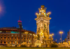 Fountain on Place d'Espagne in Barcelona Royalty Free Stock Photography
