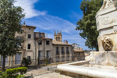 Fountain at Place de la canourgue in Montpellier. France stock photography