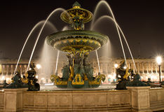 Fountain at Place de la Concord at night Royalty Free Stock Image