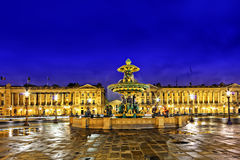 Fountain at Place de la Concord. In Paris  by dusk. France Royalty Free Stock Image