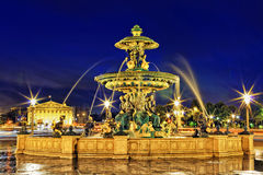 Fountain at Place de la Concord. In Paris  by dusk. France Royalty Free Stock Photos