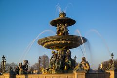 Fountain at Place de la Concord in Paris Royalty Free Stock Photography