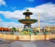 Fountain at Place de la Concord in Paris . France Royalty Free Stock Photography