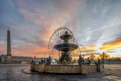 Fountain at Place de la Concord in Paris Stock Photos