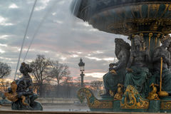 Fountain at Place de la Concord in Paris Royalty Free Stock Image