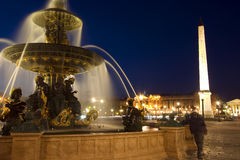 Fountain at Place de la Concord in Paris, France. Fountain at Place de la Concord by dusk Stock Photo