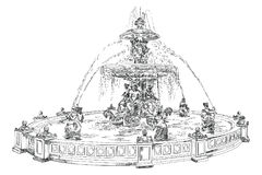 Fountain at Place de la Concord in Paris hand drawing image. Fountain at Place de la Concord landmark of Paris vector hand drawing illustration in black color Stock Photos