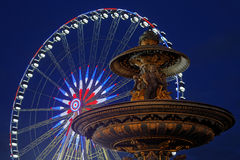 Fountain in Place de la Concorde at the blue hour Royalty Free Stock Image