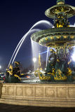 Fountain in Place de la Concorde at night, on  March 14, 2012 in  Paris, France Royalty Free Stock Images
