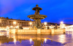 The fountain at the Place de la Concorde at night,Paris. Royalty Free Stock Photos