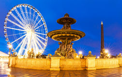 The fountain at the Place de la Concorde at night,Paris. Royalty Free Stock Photography