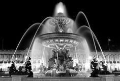 Fountain on Place de la Concorde in Paris. A night shot in black and white of a beautiful fountain on Place de la Concorde in Paris royalty free stock photography