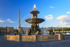 Fountain at the Place de la Concorde, Paris Royalty Free Stock Photo