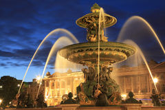 Fountain on Place de la Concorde in Paris at dusk Royalty Free Stock Image