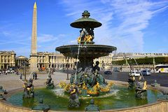 Fountain at Place de la Concorde, Paris Stock Photography