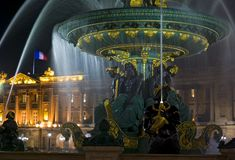 Fountain, Place de la Concorde, Paris, France Stock Image