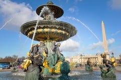 Fountain at Place de la Concorde, Paris, France Stock Photography