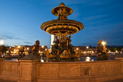 Fountain at the Place de la Concorde in Paris by night, France Royalty Free Stock Photo