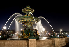 Fountain on Place de la Concorde in Paris at night Stock Photography
