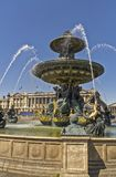 Fountain on the Place de la Concorde. Fountain of the Seas in the Place de la Concorde in Paris. A small copy of one of the fountains from St. Peter`s Square in Stock Photo