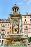 Fountain at Place des Jacobins in Lyon, France royalty free stock photography