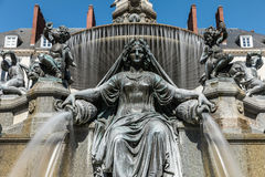 Fountain of the place Royale. In Nantes Long exposure Stock Images