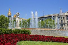 Fountain in Plaza Catalunia, Barcelona. Famous fountain in Barcelona, Spain stock images