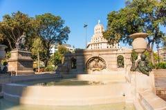 Fountain in Plaza Catalunya Royalty Free Stock Photo