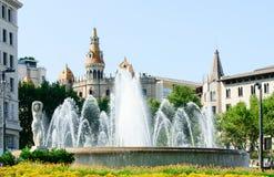 Fountain on the Plaza Catalunya Royalty Free Stock Photography
