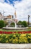 Fountain in Plaza Catalunya in Girona Stock Photos