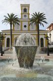 Fountain in Plaza of the church Royalty Free Stock Photos