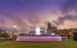 Fountain at the Plaza de Catalunya in Barcelona , Spain Stock Photo