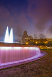 Fountain at the Plaza de Catalunya in Barcelona , Spain. Over the sunset with nice dramatic skies stock photography