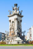 Fountain on Plaza de Espana, Barcelona Royalty Free Stock Image