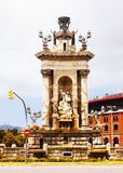 Fountain at Plaza de Espana  in Barcelona Royalty Free Stock Photography