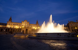 Fountain at Plaza de Espana in Sevilla Royalty Free Stock Photos