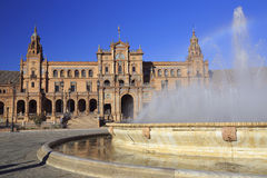The fountain in Plaza de Espana or Spain Square in Seville, Andalusia Royalty Free Stock Image