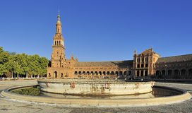 Fountain without water at the Plaza de Espana (Spain Square), Se Stock Image