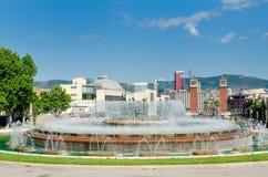 Fountain and Plaza de Espana view, Barcelona, Spain Royalty Free Stock Photography