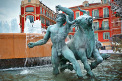 Fountain in Plaza Massena square, Nice Stock Photo