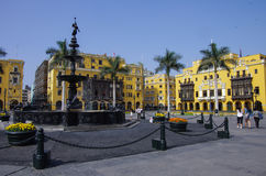 Fountain in Plaza Mayor (formerly, Plaza de Armas) in Lima, Peru. In sunny day stock photography