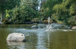 Fountain At Point Defiance. View of a fountain at Point Defiance Park in Washington State stock image