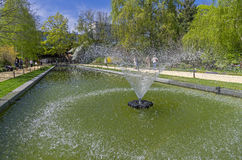 Fountain in the pond. Royalty Free Stock Photography