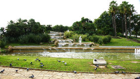 Fountain and pond in the gardens of Miramar Royalty Free Stock Photo