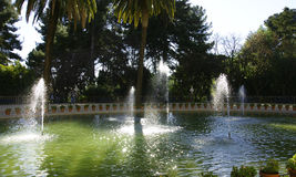 Fountain and pond Pedralbes Palace Royalty Free Stock Images
