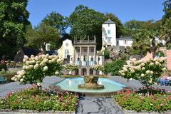 The fountain in Portmeirion village in North Wales . royalty free stock image