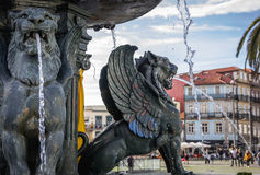 Fountain in Porto. Statues of Lion`s Fountain in Porto city, Portugal royalty free stock images